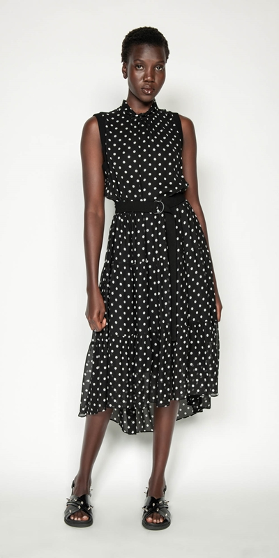 Made in Australia | Spot Tiered Midi Dress