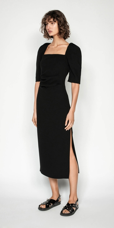 Made in Australia | Black Sculpted Sleeve Midi Dress