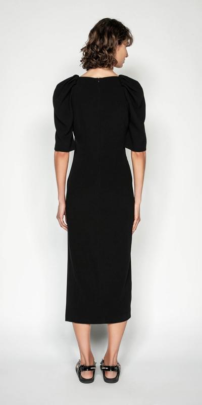 Dresses | Black Sculpted Sleeve Midi Dress