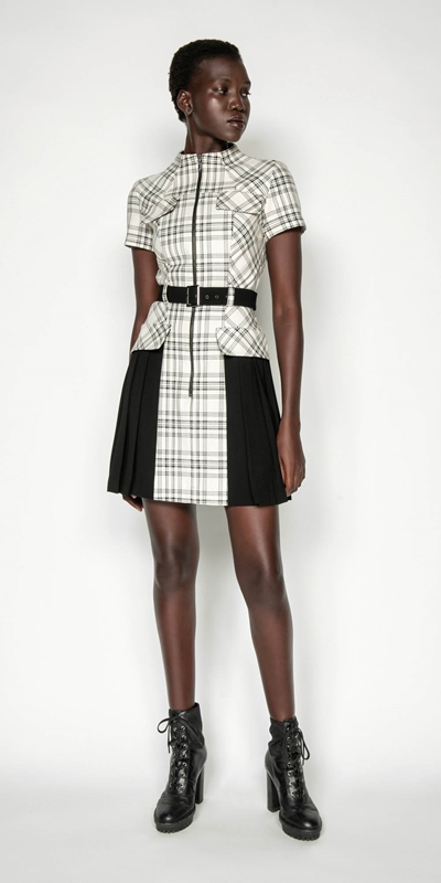 Wear to Work | Pleated Check Utility Dress