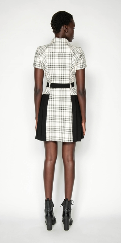 Dresses | Pleated Check Utility Dress