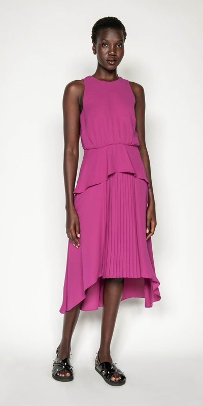 Made in Australia | Fuschia Pleated Midi Dress