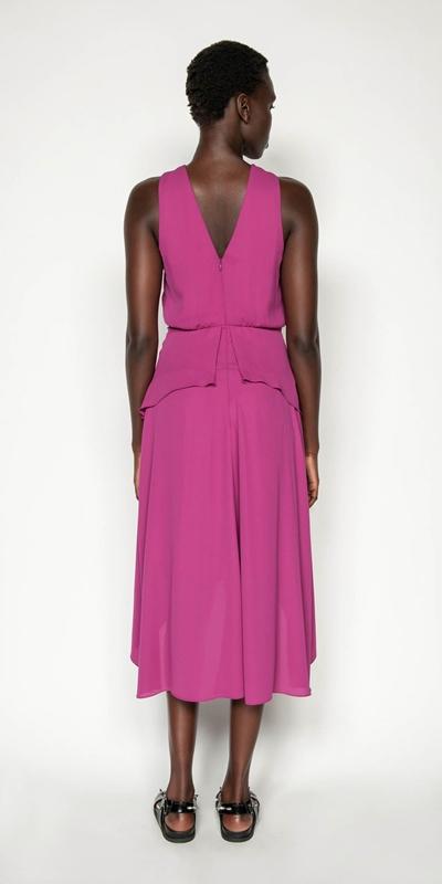 Dresses | Fuschia Pleated Midi Dress