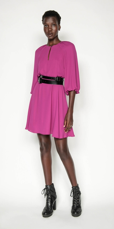 Dresses | Fuchsia Blouson Sleeve Dress