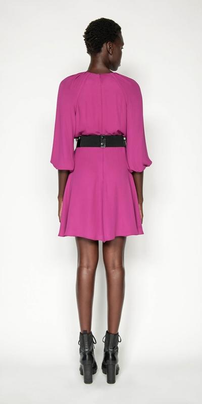 Dresses   Fuchsia Blouson Sleeve Dress