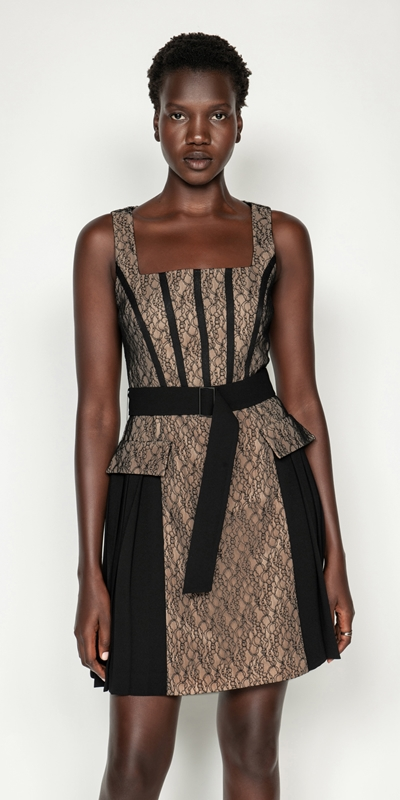 Dresses | Corded Mesh Square Neck Dress