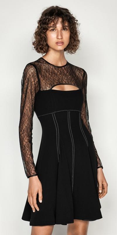 Dresses | Corded Mesh Long Sleeve Dress