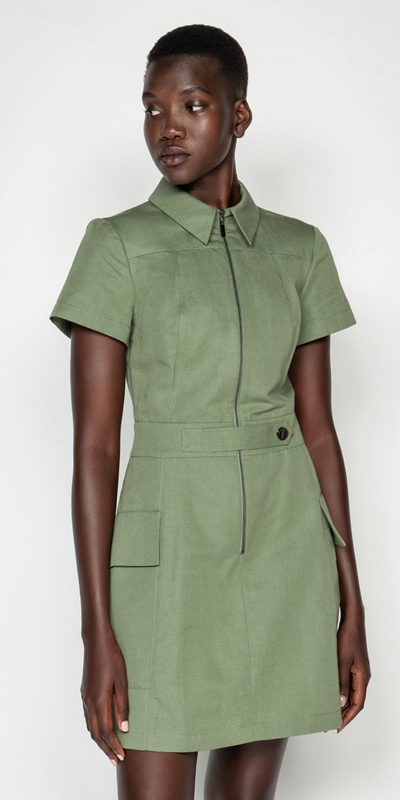 Made in Australia  | Cotton Linen Twill Utility Dress