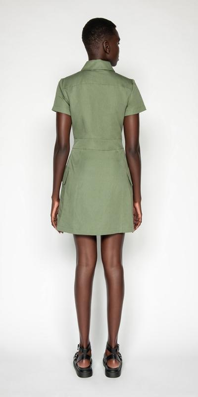 Dresses | Cotton Linen Twill Utility Dress