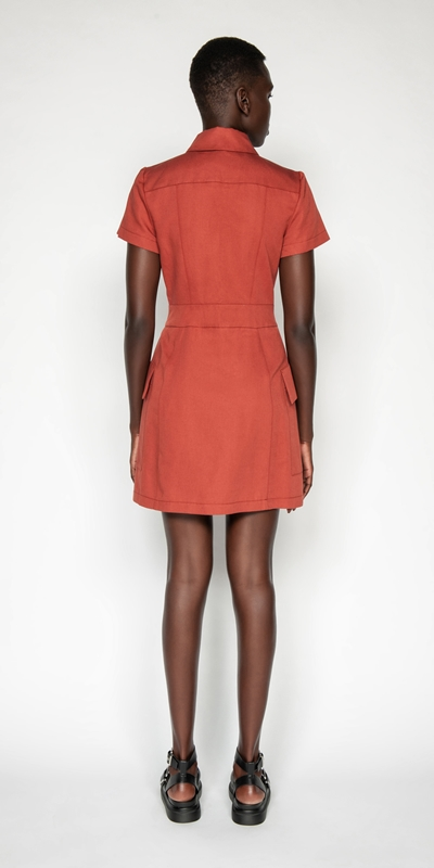 Dresses | Cotton Linen Twill Utility Dress