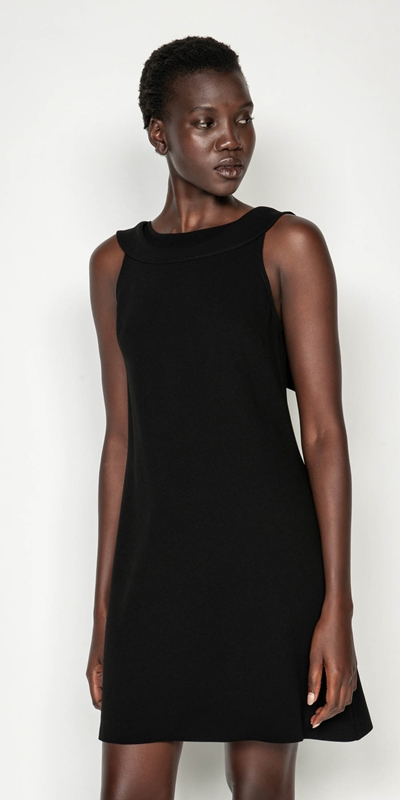 Dresses | Crepe Draped Boat Neck Dress