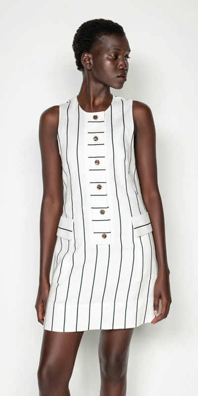 Made in Australia  | Striped Linen Button Front Dress