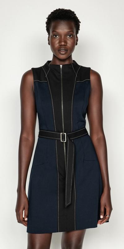 Dresses | Belted Funnel Neck Dress