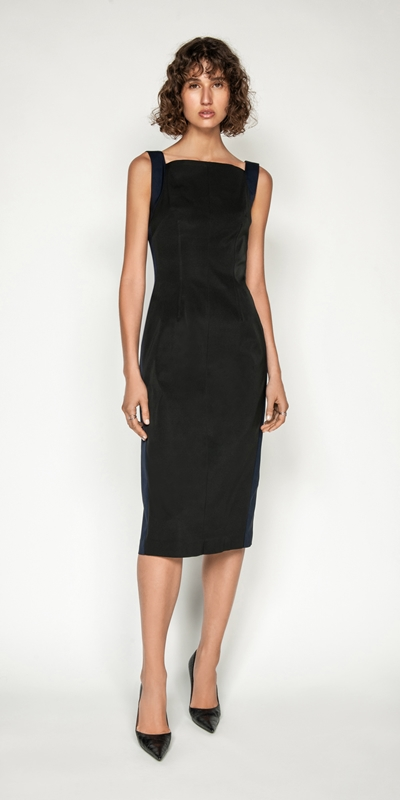 Dresses | Spliced Square Neck Pencil Dress