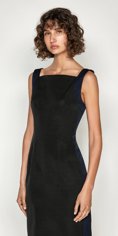 Wear to Work  | Spliced Square Neck Pencil Dress