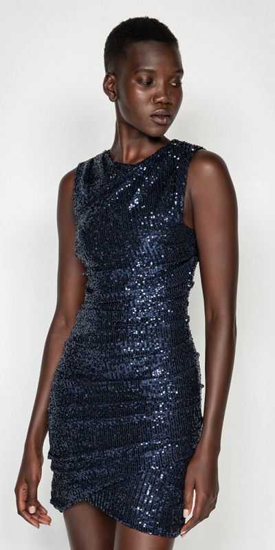 Dresses  | Ruched Sequin Mini Dress