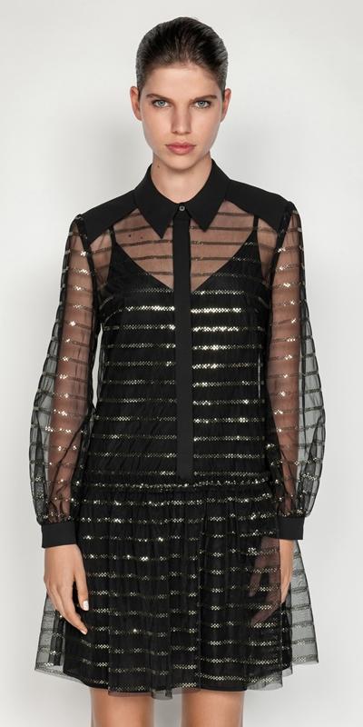 Dresses  | Stripe Sequin Shirt Dress