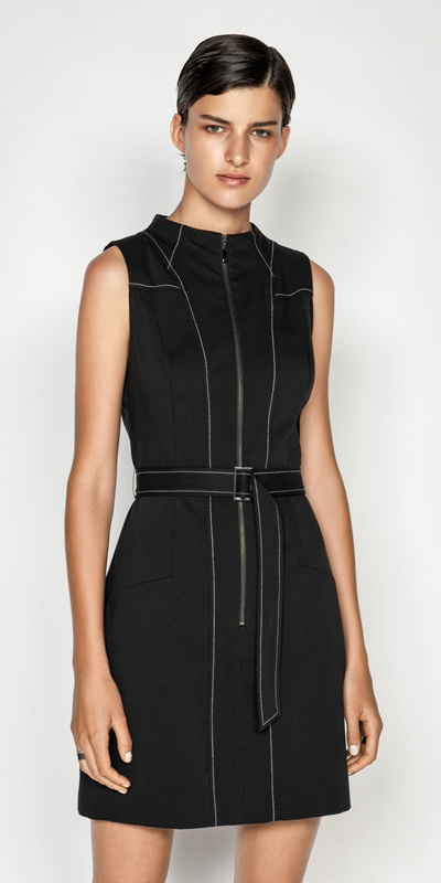 Made in Australia  | Belted Funnel Neck Dress