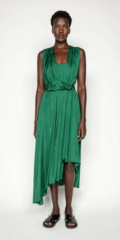 Dresses | Emerald Viscose Satin Dress