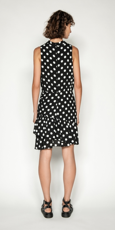 Dresses | Spot Viscose Georgette Frilled Hem Dress