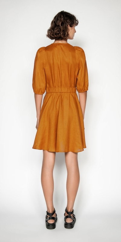 Dresses   Linen Button Front Dress