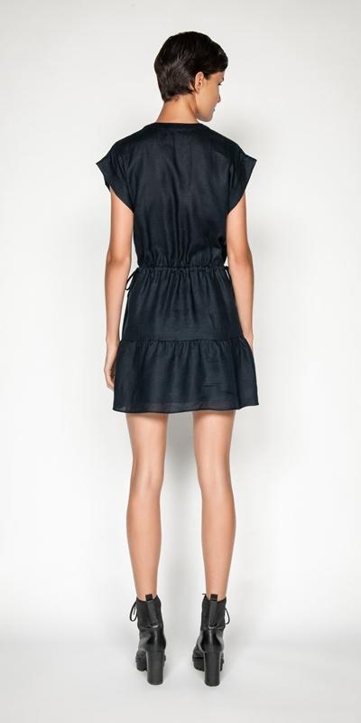 Dresses | Linen Ruched Waist Trapeze Dress