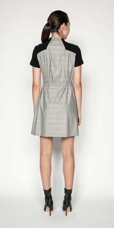 Dresses | Houndstooth Check Funnel Neck Dress