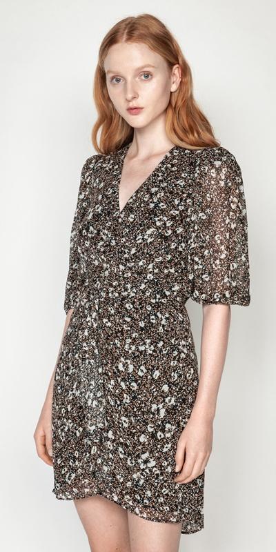 Dresses | Floral Animal Viscose Frilled Dress