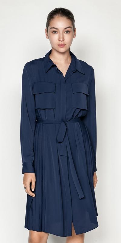Dresses | Pleated Shirt Dress