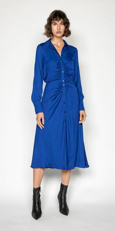 Dresses | Cobalt Midi Shirt Dress