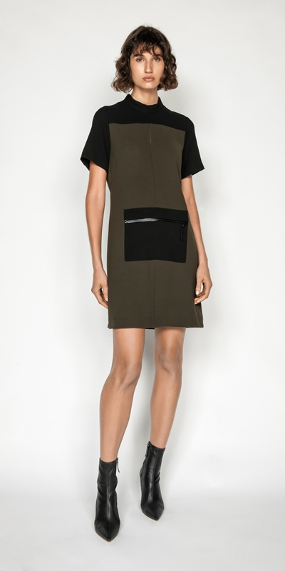 Dresses | Khaki Spliced Dress
