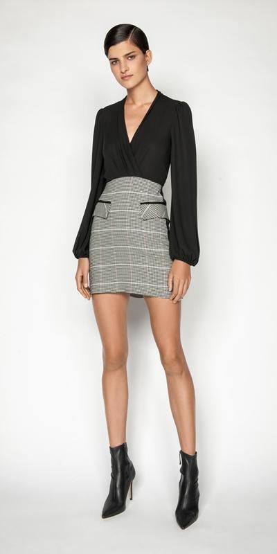 Dresses | Cotton Gingham Blouson Sleeve Dress