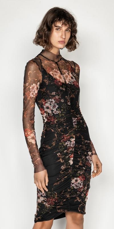 Dresses  | Rose Mesh Ruched Dress