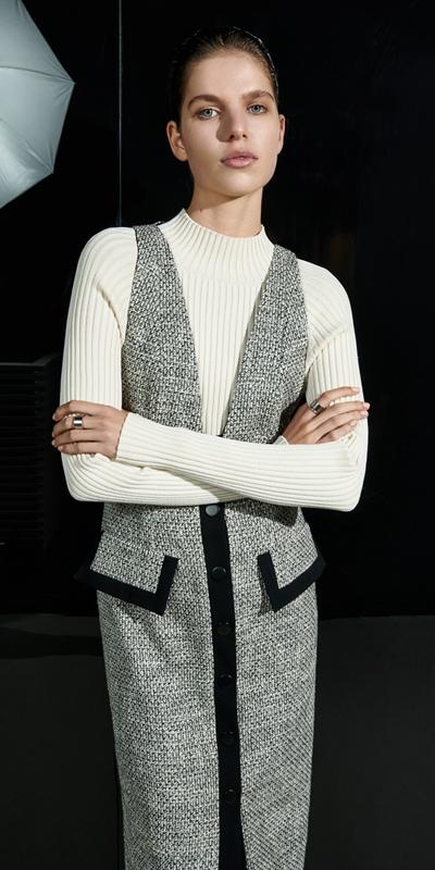 Dresses  | Monochrome Tweed Pinafore