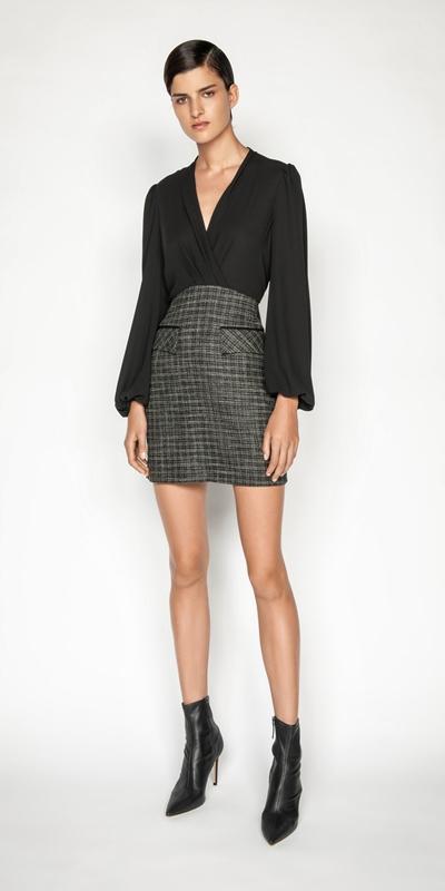 Dresses | Monochrome Tweed Blouson Sleeve Dress