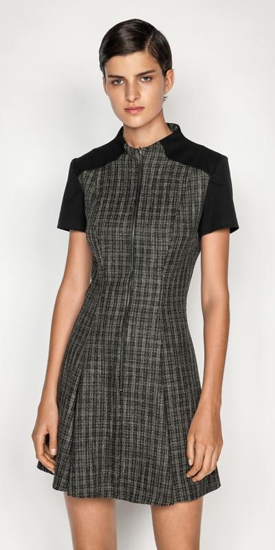 New Arrivals  | Monochrome Tweed Zip Front Dress