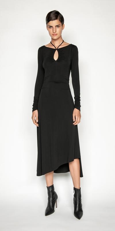 Dresses | Jersey Ruched Keyhole Dress