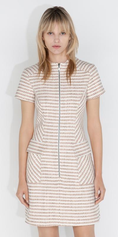 Dresses  | Cotton Boucle Stripe Zip Front Dress
