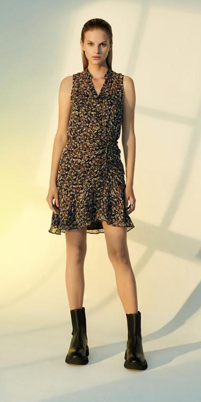Dresses | Mini Floral Ruched Dress