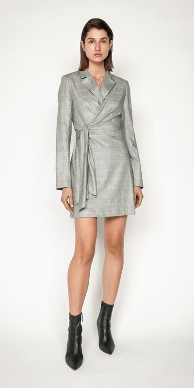 Dresses | Check Wrap Front Blazer Dress