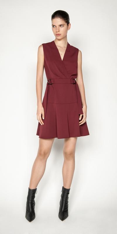 Dresses | Washer Crepe Buckle Waist Dress