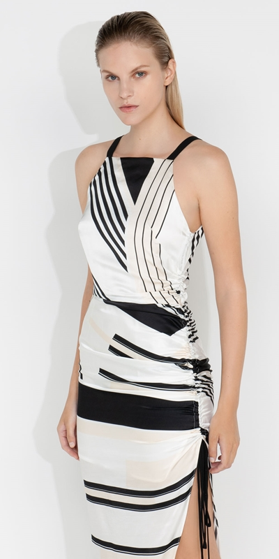 Dresses  | Graphic Stripe Ruched Dress