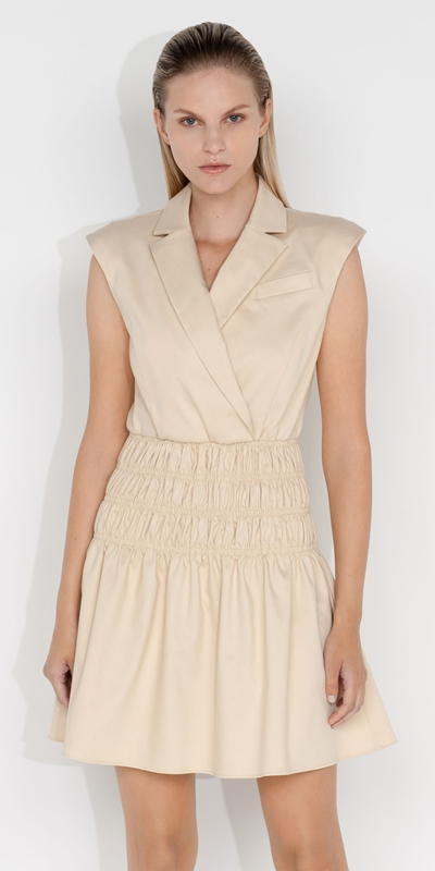 Dresses  | Cotton Shirred Blazer Dress