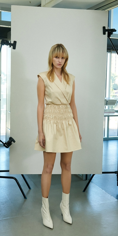 Dresses   Cotton Shirred Blazer Dress