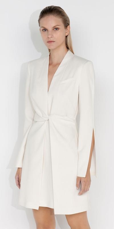 Dresses  | Ivory Twist Front Dress
