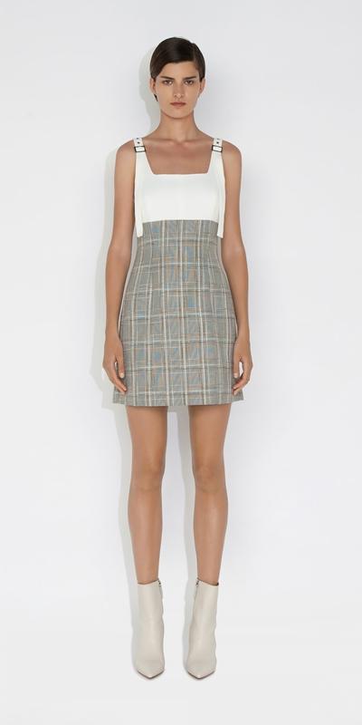 Dresses | Tweed Check Square Neck Dress