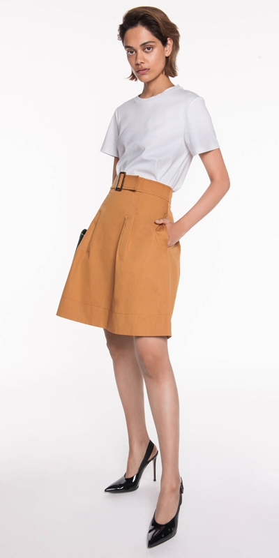 Skirts | Cotton Twill Tuck Detail Skirt