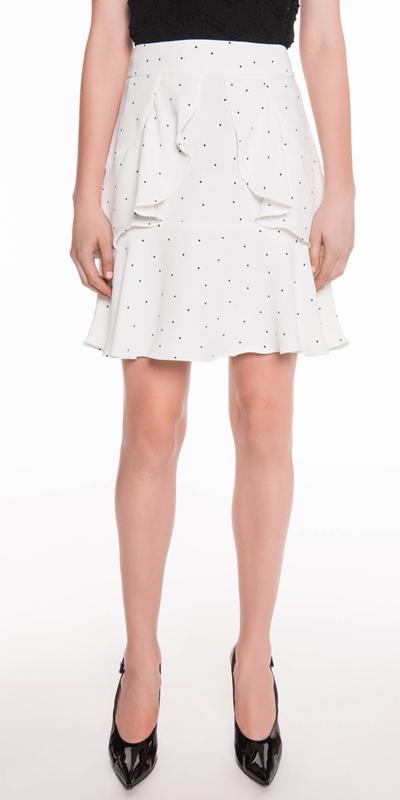 Skirts  | Spot Crepe Frill Skirt