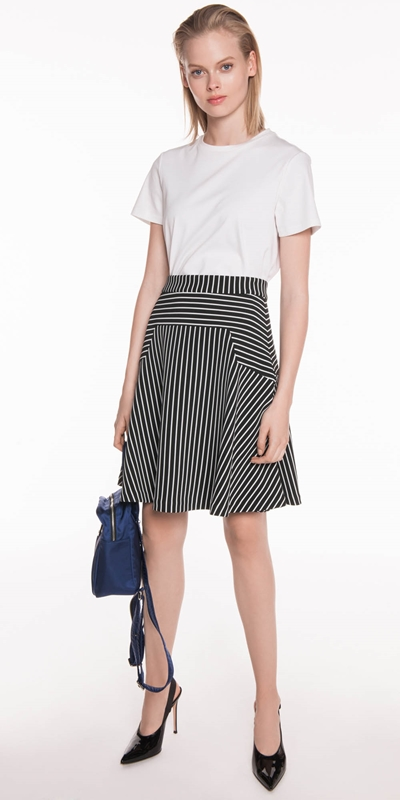 Sale | Monochrome Stripe Rib Skirt
