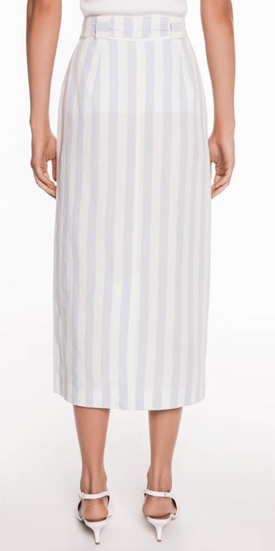 Skirts   Stripe Linen Midi Skirt